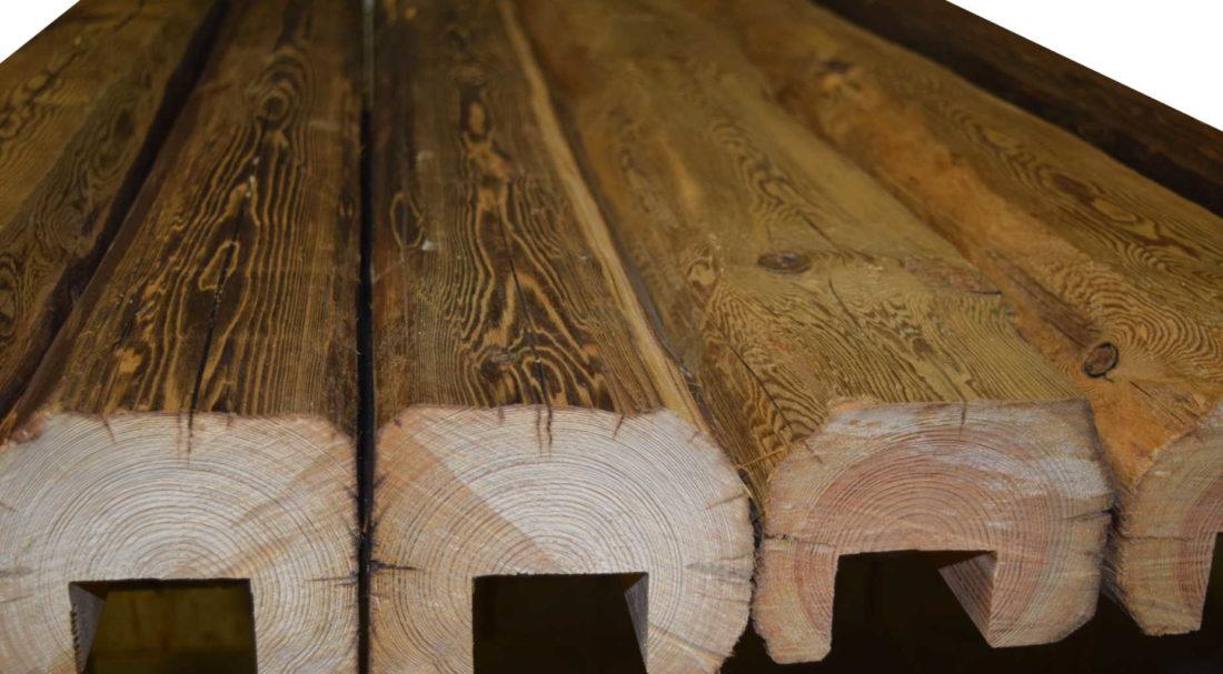Altholzdeckenbalken in Bearbeitung